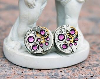 Steampunk earrings, stud earrings, swarovski earrings, steampunk jewelry