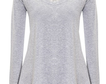Straight-cut blouse with wide-cut neckline grey