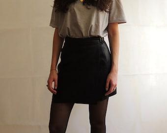 Vintage Real Leather Mini Skirt/ Black Leather A-line Skirt