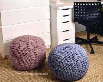 Crochet  Round Pouf - Pouf Ottoman - Footstool- Floor Cushion - Nursery Pouf - Floor Pouf