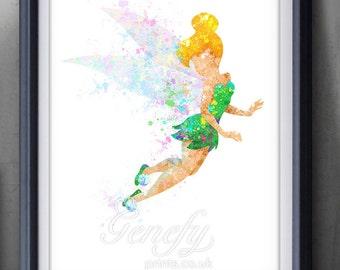 Disney Tinkerbell Fairy Watercolor Art Poster Print - Wall Decor - Watercolor Painting - Watercolor Art - Kids Decor - Nursery Decor [1]