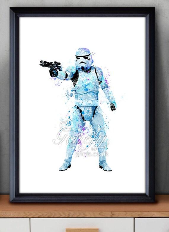 Star Wars Stormtrooper Watercolor Art Poster Print Wall