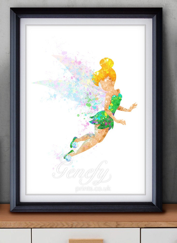 Disney Tinkerbell Fairy Watercolor Art Poster Print Wall Decor Watercolor Painting Watercolor Art