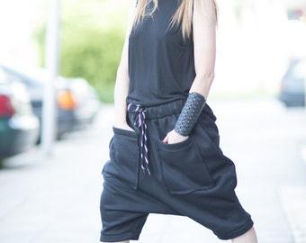 Short Pants, Loose Casual Black Drop Crotch Pants, Warm Extravagant Black Pants, Sarouel pants by EUGfashion - PA0768W3