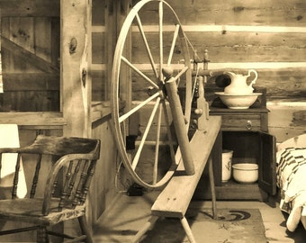 1850s LOG HOUSE--Michigan Photography, Historical, Old Log Cabin, Michigan History, Log Cabin Picture, Spinning Wheel, Days of Old, Rustic
