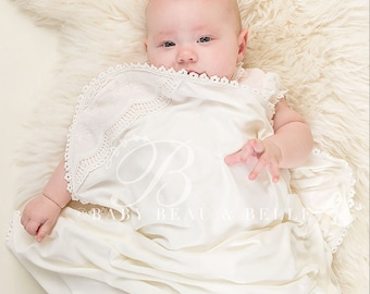 Avery Blanket, Girls Ivory Blanket with Lace