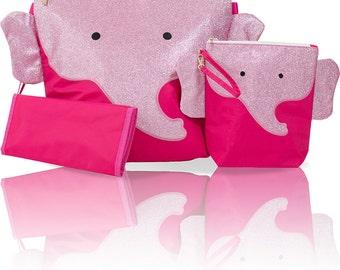 Diaper Bag Backpack Monogram Forever Young Convertible Mommy Bag Set - Ellie Pink Elephant