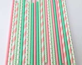 MINT & PINK Multipack Paper Straws 25 Count/Princess Birthday/Baby Shower/1st Birthday/Mint Polka Dot/Pink Spiral/Mint Chevron