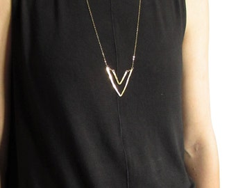 Geo Triangle Pendant // Hammered 14 Karat Gold Filled Pendant // Long Gold Geometric Necklace // Chevron Pendant Necklace