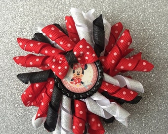 Minnie Mouse Hair Bow | Minnie Mouse Korker Bow | Hair Bows for Girls | Red Minnie Mouse Hair Bow | Korker Bow | Minnie Hair Bow