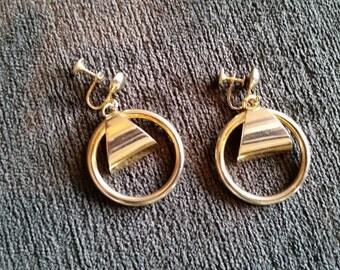 Vintage Gold Tone Hoop Earrings Signed by Coro