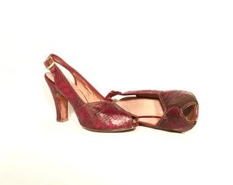 1940's Heels | Cherry Red Lizard Peeptoe Slingback Pumps | Size: 5.5