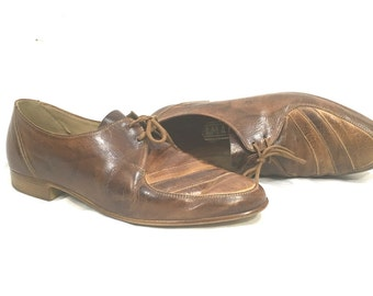 1960's Men's Shoes | Salamander Brand Leather Stripe Shoes | Size: 7.5