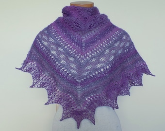 OOAK Hand knitted lace shawl Masham wool