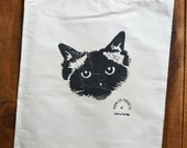 Black Large Face Pickle Birman Ragdoll Cat Vintage Calico Drawstring Prospectors Pouch. 33 x 29cm.