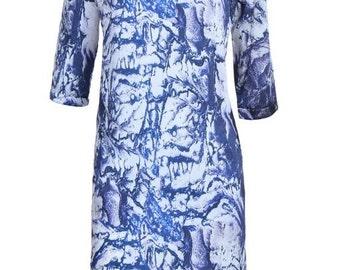 Blue& white Print Dress, Shirt Dress,  Print Tunic Dress,  Casual day dress - Bel
