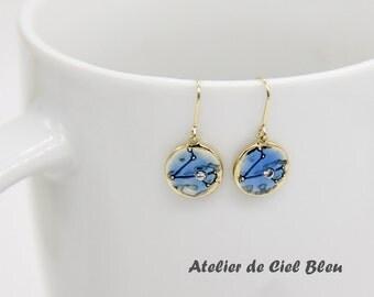 SALE! Pisces Earrings, Zodiac Pisces Earrings, Gold Plated Pisces Earrings, Zodiac Earrings, Horoscope Earrings, Zodiac Jewelry