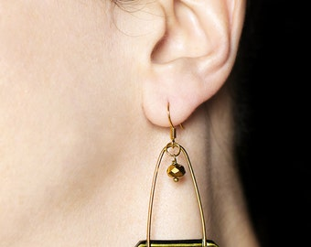 Modern jewelry Long earrings Statement earrings Black and gold earrings Contemporary jewelry Black dangle earring Gold dangles Woman's gifts