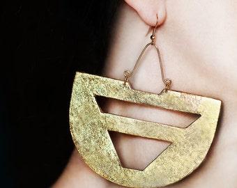 Big jewelry Gold boho earring Ethnic earrings African jewelry Bohemian earrings Large earrings Tribal jewelry Chunky earrings Chunky jewelry
