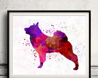 Norwegian Elkhound 01 in watercolor - Fine Art Print Poster Decor Home Watercolor Illustration Dog - SKU 2019