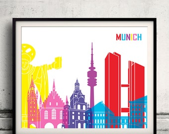 Munich pop art skyline 8x10 in. to 12x16 in. Fine Art Print Glicee Poster Gift Illustration Pop Art Colorful Landmarks - SKU 1033