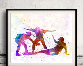 Baseball players 03 - 8x10 in. to 12x16 in. poster watercolor wall art splatter sport baseball illustration print Glicée artistic - SKU 1296