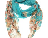 Aqua Butterfly Print Scarf, Beach Wrap, Women's Accessories, Spring Fall Summer Winter Gift for Her