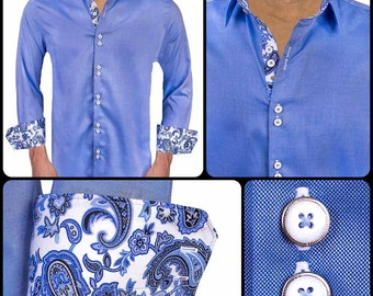 Blue with White and Blue Paisley Men's Designer Dress Shirt - Made To Order in USA