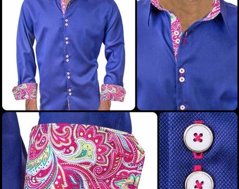 Navy Blue with Pink Paisley Men's Designer Dress Shirt - Made To Order in USA