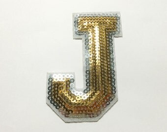 Alphabet Letter J Iron on Patch - Gold Sequin J, Glitter Applique Embroidered Iron on Patch - Size 5.2x7.4 cm#T2