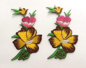 2 pcs  Pink,Brown, Yellow, Gold  Flower Patch/Embroidered Flower Patch /Embroidered Iron on Patch / Flower Applique Size 5.9x11.8cm