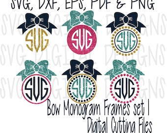SVG Monogram Bow Cutting Files Template Clipart - Vinyl SVG Digital Designs Cut files great for Silhouette & Cricut - Svg Dxf Eps Pdf Png