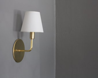 Brass Sconce - Dean - with White Shade
