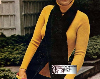 Crochet Hat Pattern Pocket Scart & Hat Set Tam Beanie Instant Download Vintage 60s