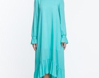 Bluebird - turquoise dress, asymmetrical dress, beautiful dress, summer dress, casual dress, evening dress, prom dress, bridesmaid dress