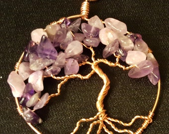 Purple Amethyst Wire-Wrapped Tree of Life Pendant