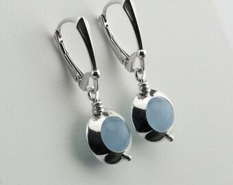 Blue chalcedony drop earrings, blue chalcedony earrings, blue stone drop earring, sterling silver earrings, blue stone drop silver earrings