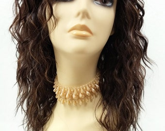 14 Inch Lace Front Long Brown, Auburn and Copper Curly Heat Resistant Wig. Synthetic Fashion Wig. [88-450-Jackie-4/27/30]