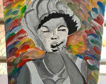 Original painting of a smoking lady, acrylic on canvas. 12 inches by 16 inches. Home decor, Wall art, Painting, Art