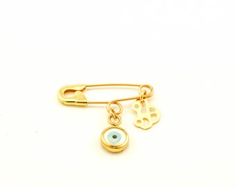 Gold Evil Eye Safety Pin Brooch Birth Announcement Baptism Baby Gift Pin Baby Shower Gift  Baby Boy Pin 9K 14K