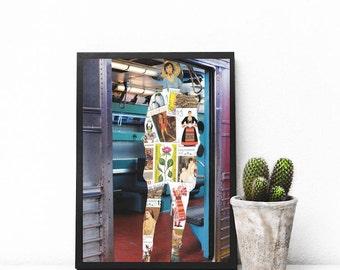 "Street art print, mixed media collage art, original paper collage art, surreal art, New York subway poster, old stamp art print - ""Timbré""."