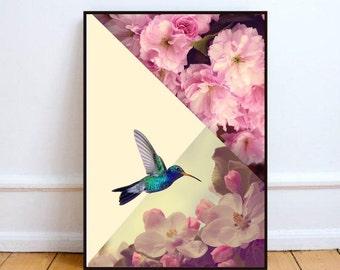 "Minimalist art, scandinavian poster, scandinavian print, cherry blossom art print, graphic poster, hummingbird print - ""Hummingbird in love"""