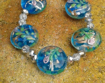 Bracelet, Lampwork and glass crystal .