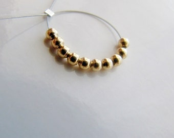 14k gold beads 2mm round SOLID 14 carat gold spacer bead, shiny ball Bali style gold nugget findings jewelry craft supplies.