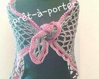 Wool shawl, Crochet wool shrug, Grey wrap