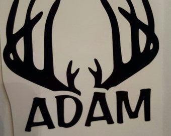 Buck horns decal with name