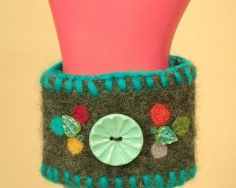 Felted Wrist Cuff Bracelet Beaded Vintage Button Needle Felting