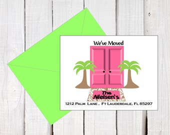 New address announcement, we've moved, new address post cards, Moving to Florida, Palm Tree card, Post card size 5.5 x 4.25  printables.