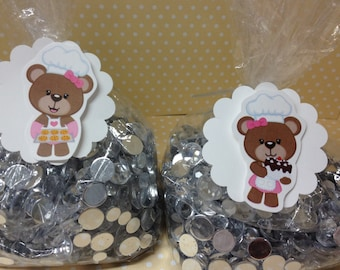 Baker Bear Party Candy or Favor Bags with Tags - Set of 10