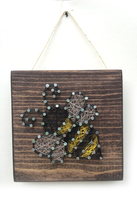 Bumble bee string art home or office decor for Bee decorations for the home